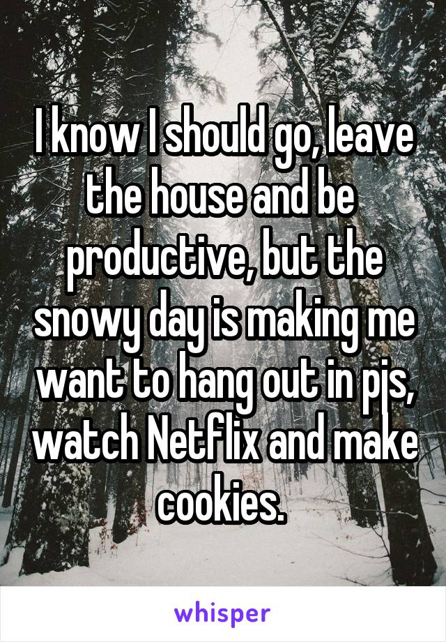 I know I should go, leave the house and be  productive, but the snowy day is making me want to hang out in pjs, watch Netflix and make cookies.