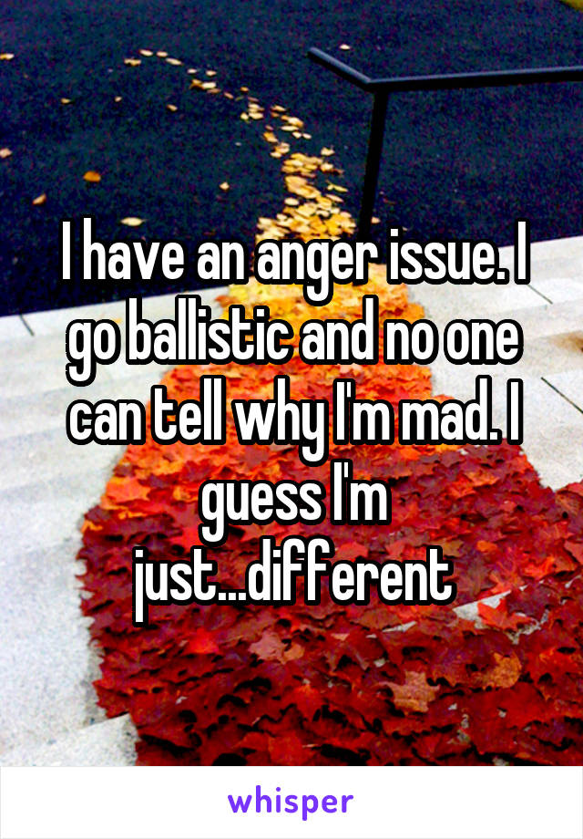 I have an anger issue. I go ballistic and no one can tell why I'm mad. I guess I'm just...different