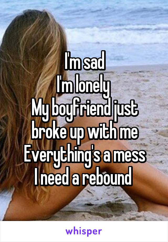 I'm sad I'm lonely  My boyfriend just broke up with me Everything's a mess I need a rebound