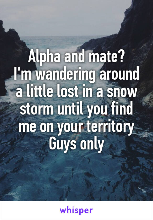 Alpha and mate? I'm wandering around a little lost in a snow storm until you find me on your territory Guys only