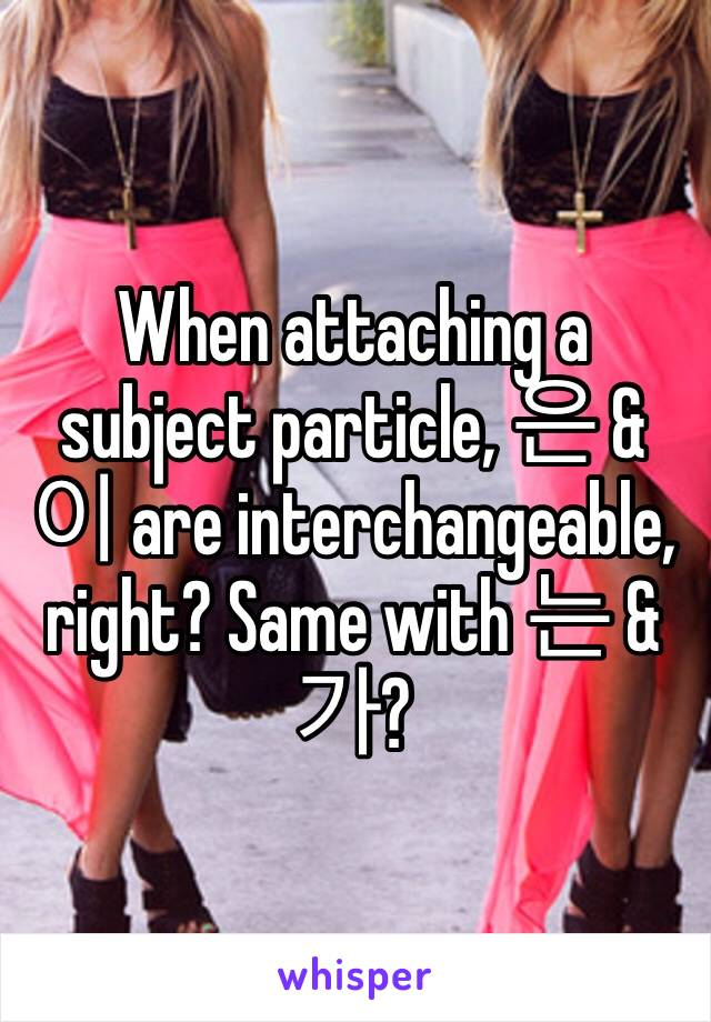 When attaching a subject particle, 은 & 이 are interchangeable, right? Same with 는 & 가?