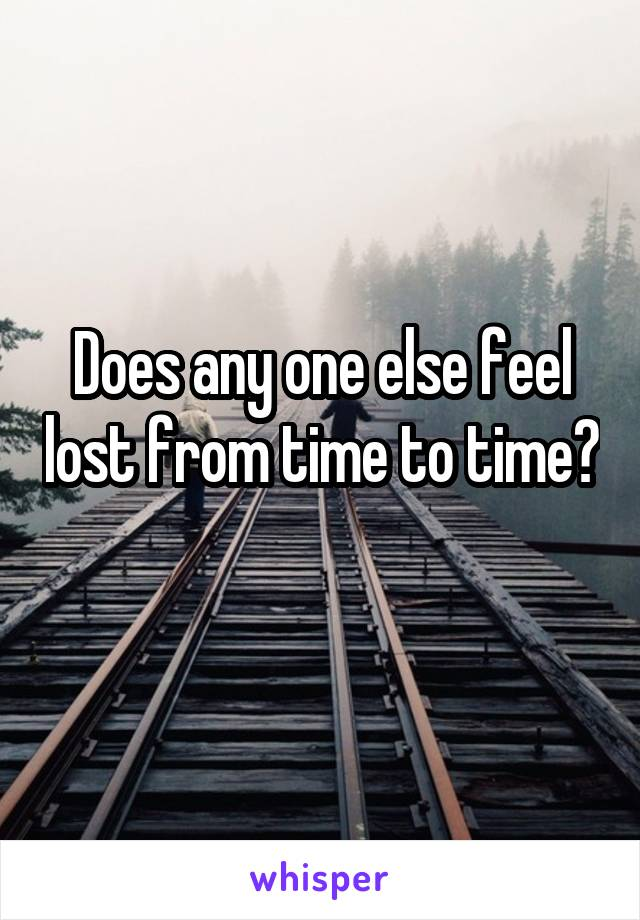 Does any one else feel lost from time to time?