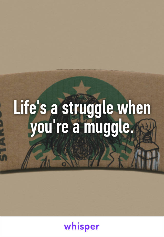 Life's a struggle when you're a muggle.