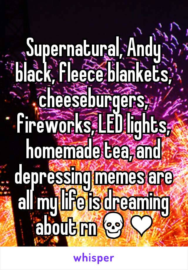 Supernatural, Andy black, fleece blankets, cheeseburgers, fireworks, LED lights, homemade tea, and depressing memes are all my life is dreaming about rn💀❤