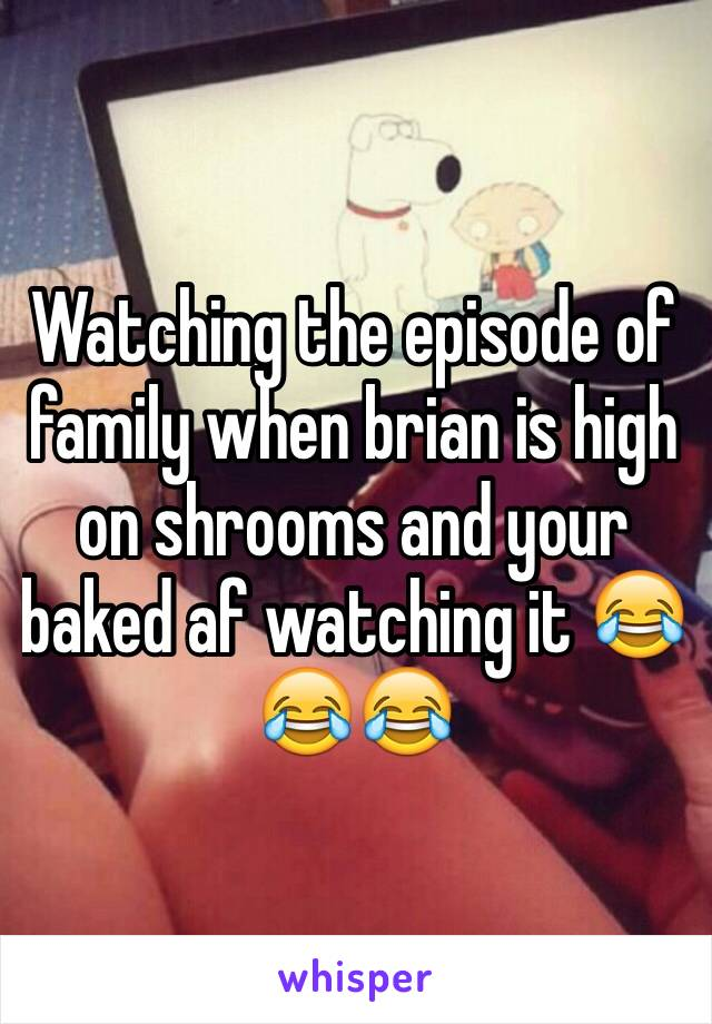 Watching the episode of family when brian is high on shrooms and your baked af watching it 😂😂😂