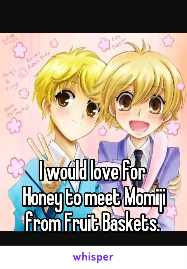 I would love for  Honey to meet Momiji from Fruit Baskets.