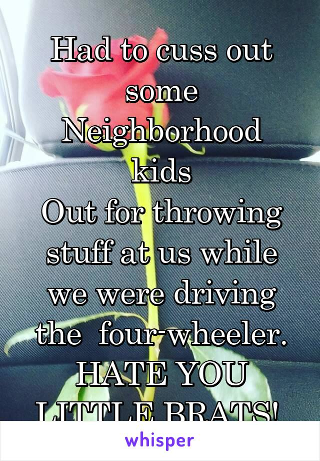 Had to cuss out some Neighborhood kids Out for throwing stuff at us while we were driving the  four-wheeler. HATE YOU LITTLE BRATS!