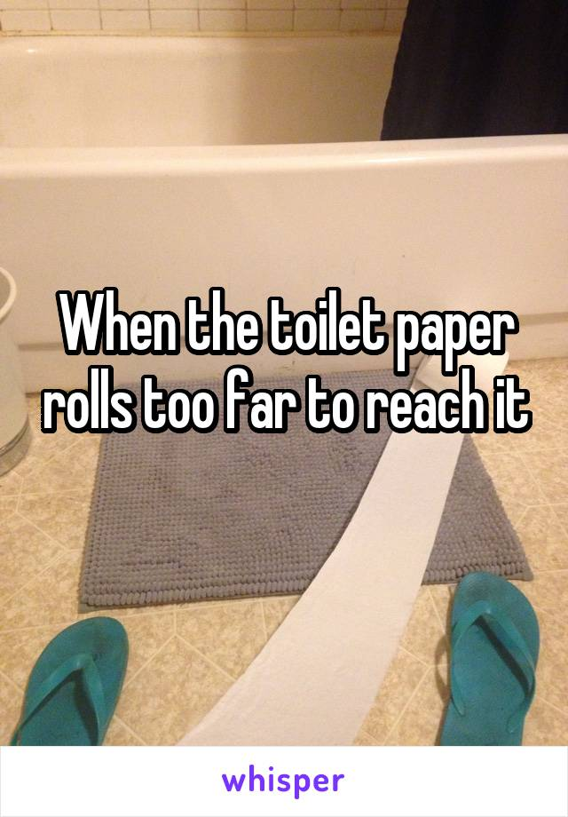 When the toilet paper rolls too far to reach it