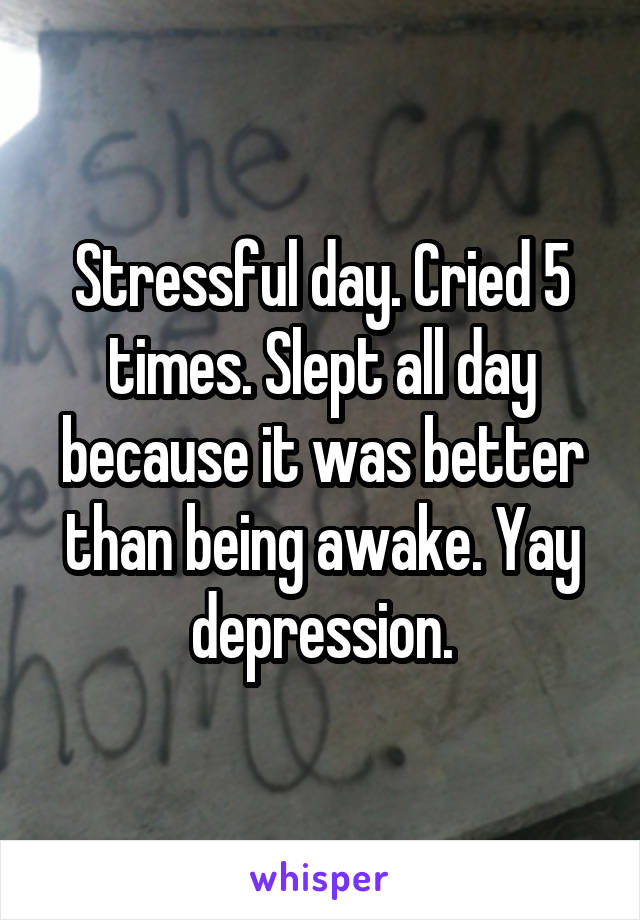 Stressful day. Cried 5 times. Slept all day because it was better than being awake. Yay depression.