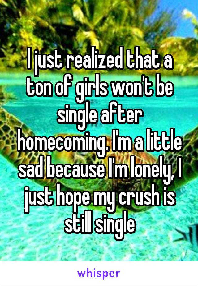 I just realized that a ton of girls won't be single after homecoming. I'm a little sad because I'm lonely, I just hope my crush is still single