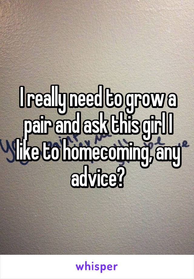 I really need to grow a pair and ask this girl I like to homecoming, any advice?