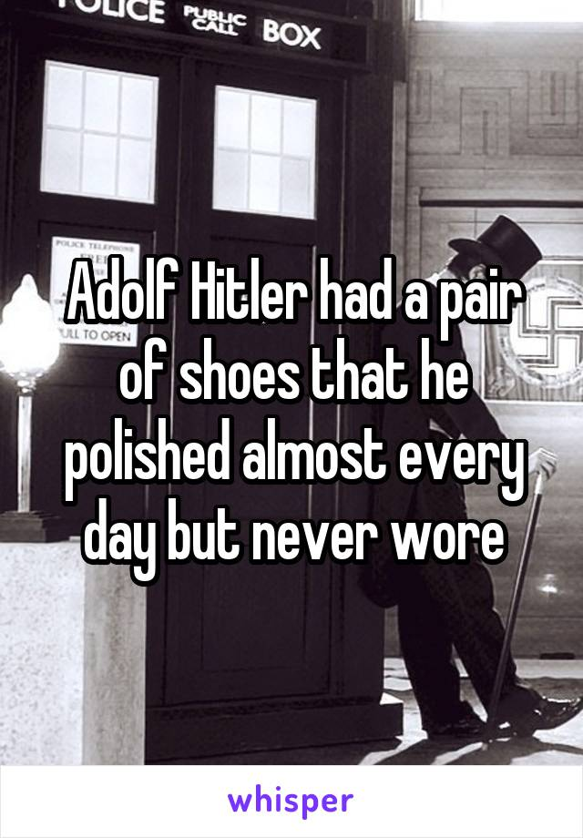 Adolf Hitler had a pair of shoes that he polished almost every day but never wore