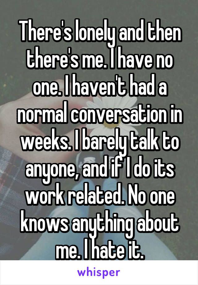 There's lonely and then there's me. I have no one. I haven't had a normal conversation in weeks. I barely talk to anyone, and if I do its work related. No one knows anything about me. I hate it.
