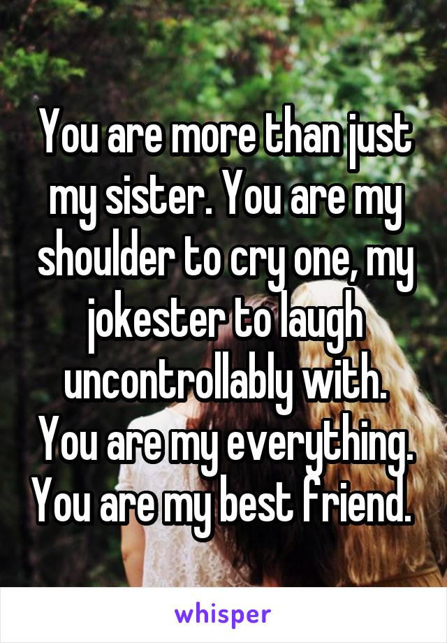 You are more than just my sister. You are my shoulder to cry one, my jokester to laugh uncontrollably with. You are my everything. You are my best friend.