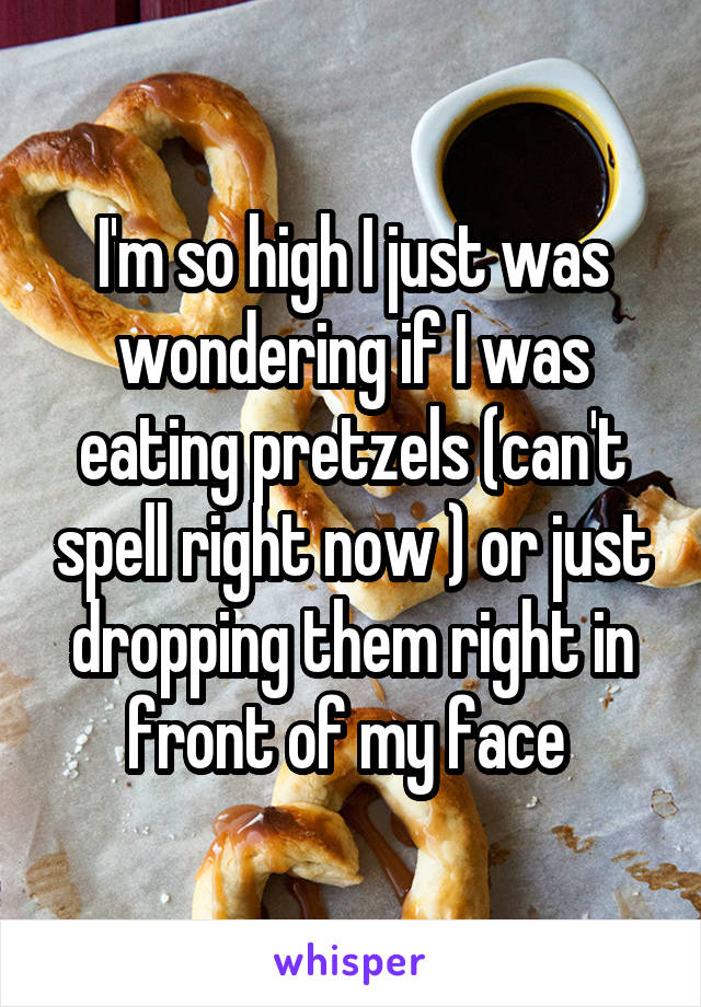 I'm so high I just was wondering if I was eating pretzels (can't spell right now ) or just dropping them right in front of my face