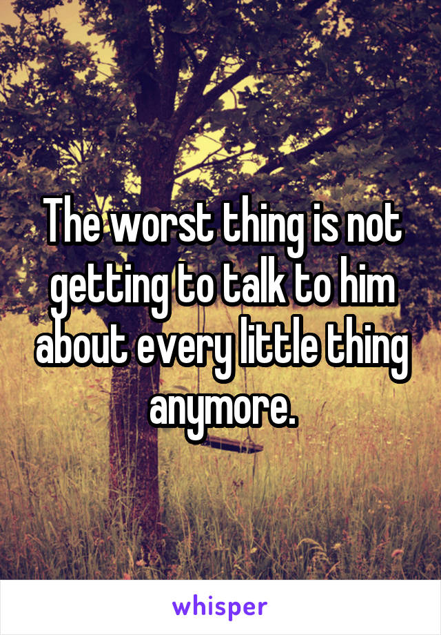 The worst thing is not getting to talk to him about every little thing anymore.