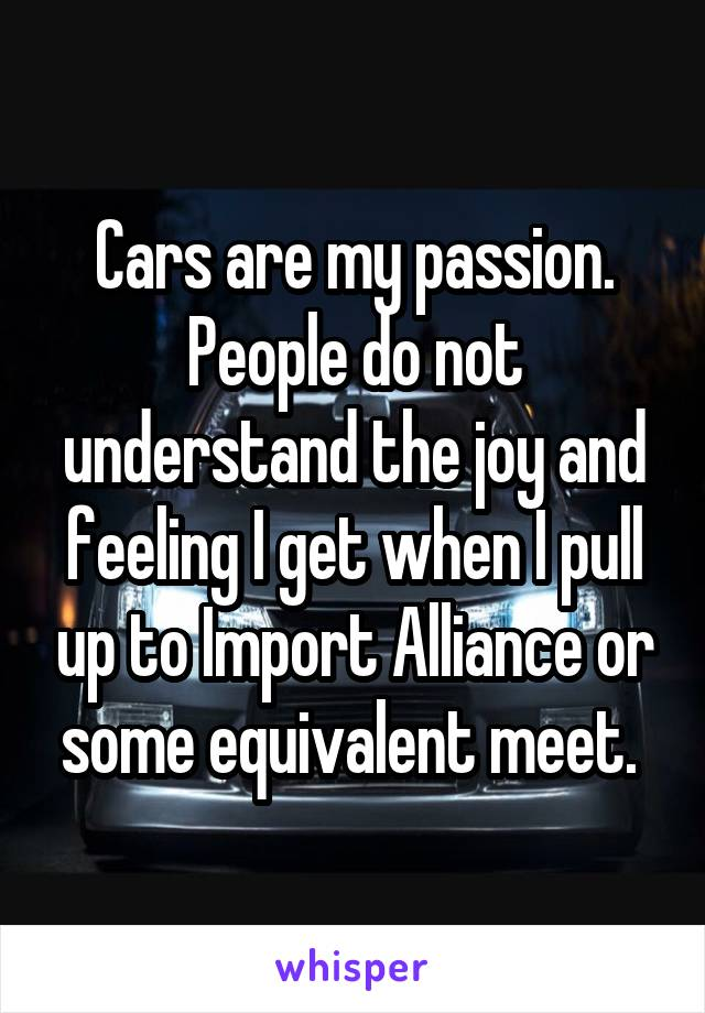 Cars are my passion. People do not understand the joy and feeling I get when I pull up to Import Alliance or some equivalent meet.
