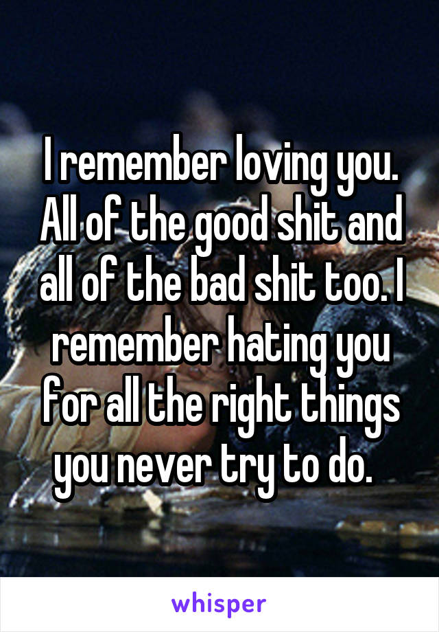 I remember loving you. All of the good shit and all of the bad shit too. I remember hating you for all the right things you never try to do.