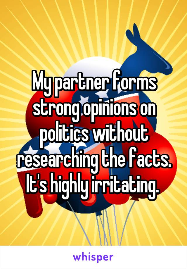 My partner forms strong opinions on politics without researching the facts. It's highly irritating.