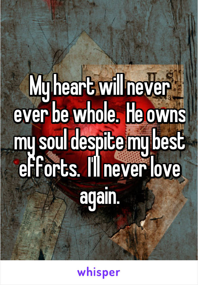 My heart will never ever be whole.  He owns my soul despite my best efforts.  I'll never love again.