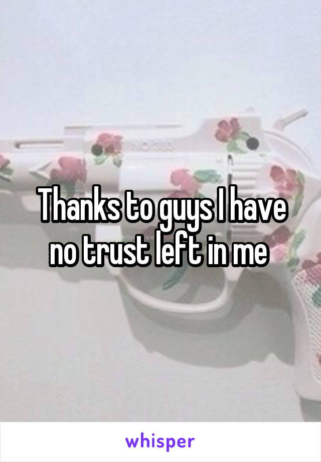 Thanks to guys I have no trust left in me