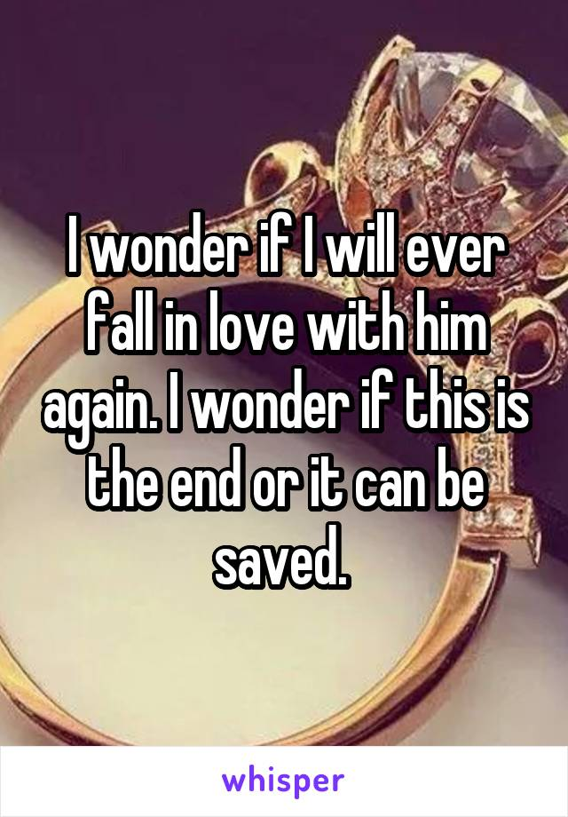 I wonder if I will ever fall in love with him again. I wonder if this is the end or it can be saved.