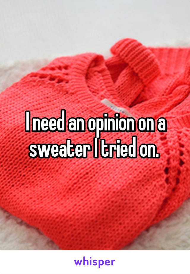 I need an opinion on a sweater I tried on.