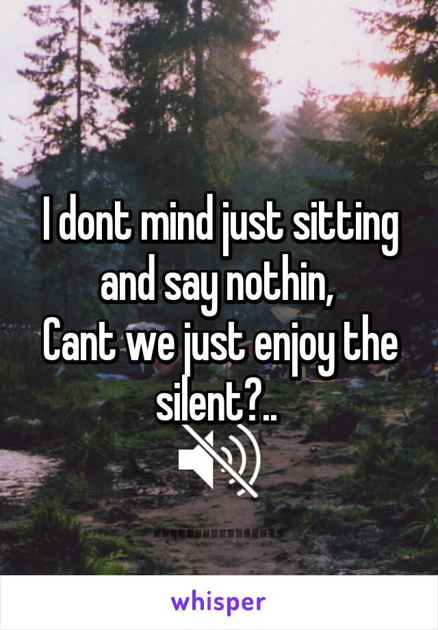 I dont mind just sitting and say nothin,  Cant we just enjoy the silent?..