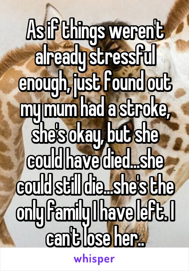 As if things weren't already stressful enough, just found out my mum had a stroke, she's okay, but she could have died...she could still die...she's the only family I have left. I can't lose her..