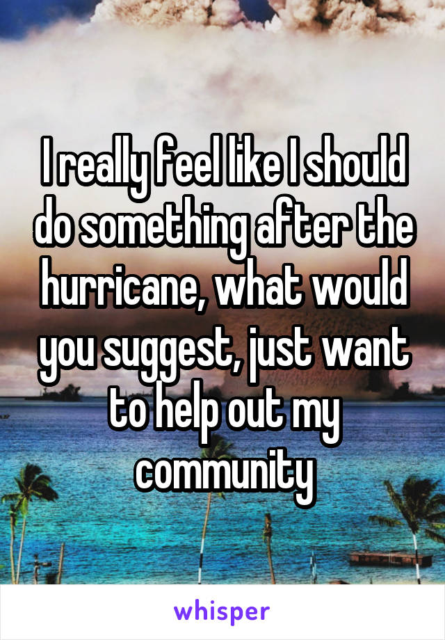I really feel like I should do something after the hurricane, what would you suggest, just want to help out my community