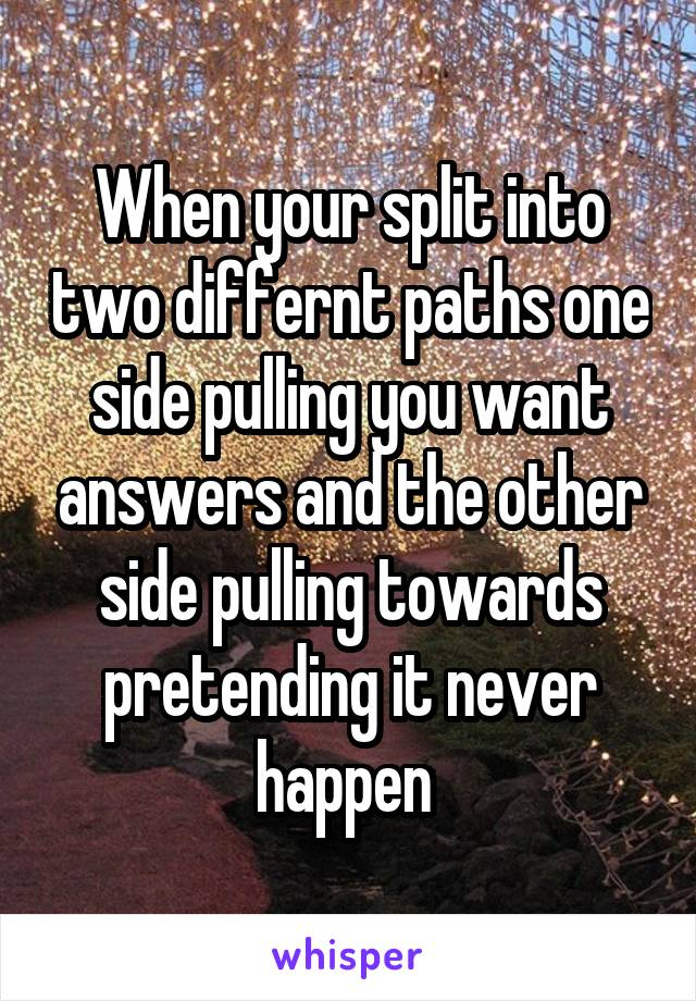 When your split into two differnt paths one side pulling you want answers and the other side pulling towards pretending it never happen