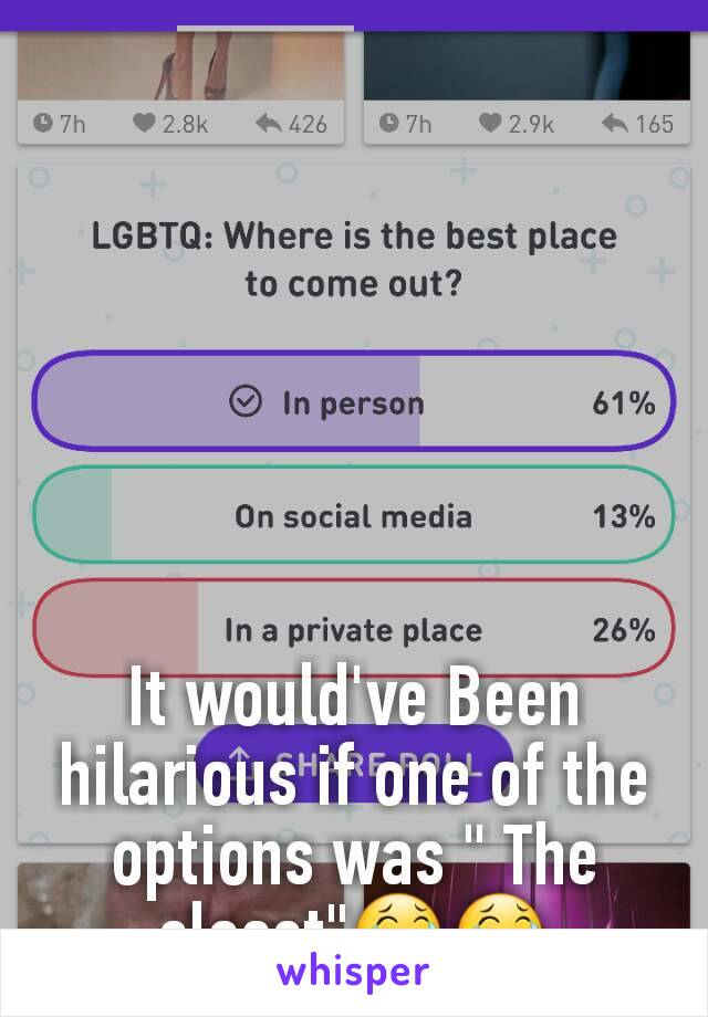 """It would've Been hilarious if one of the options was """" The closet""""😂😂"""