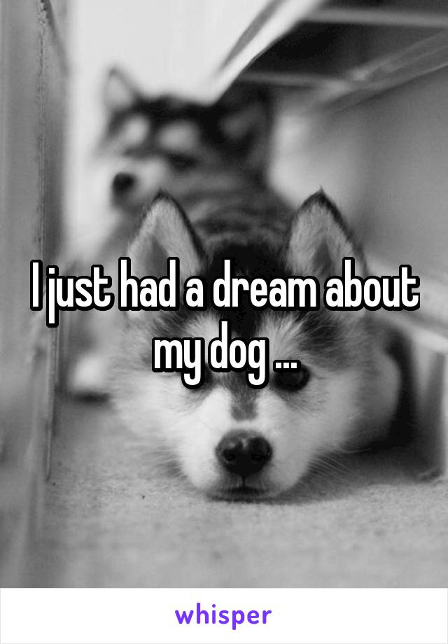 I just had a dream about my dog ...