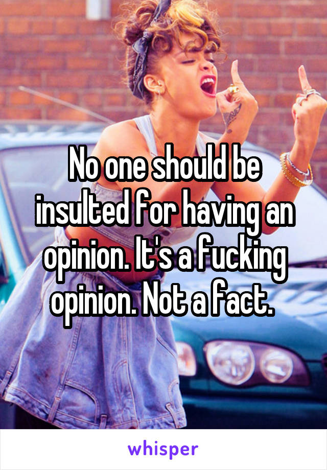 No one should be insulted for having an opinion. It's a fucking opinion. Not a fact.