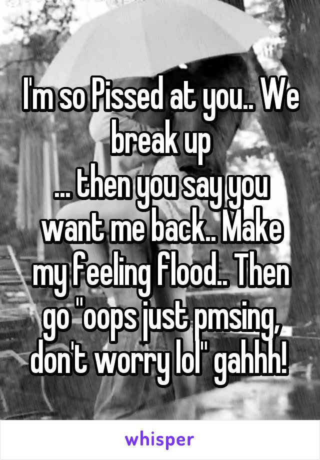 """I'm so Pissed at you.. We break up ... then you say you want me back.. Make my feeling flood.. Then go """"oops just pmsing, don't worry lol"""" gahhh!"""