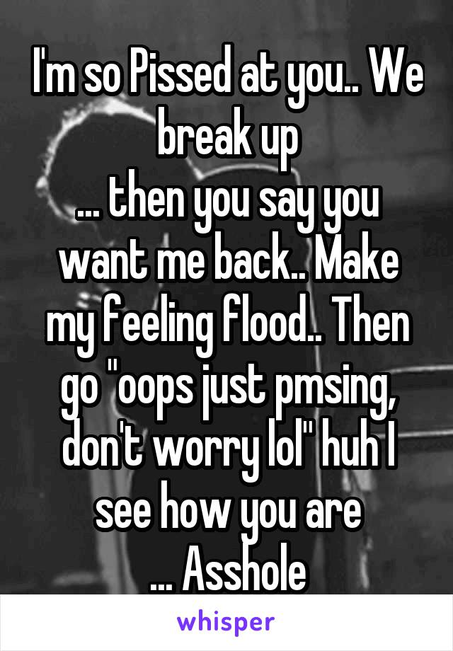 """I'm so Pissed at you.. We break up ... then you say you want me back.. Make my feeling flood.. Then go """"oops just pmsing, don't worry lol"""" huh I see how you are ... Asshole"""