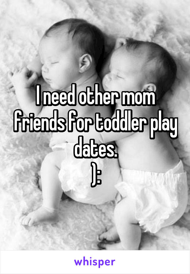 I need other mom friends for toddler play dates. ):