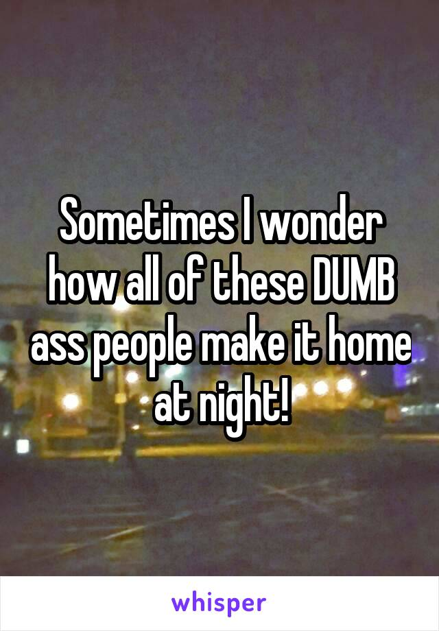 Sometimes I wonder how all of these DUMB ass people make it home at night!