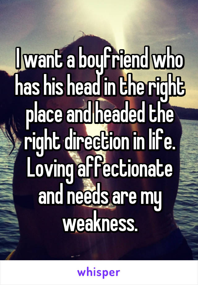 I want a boyfriend who has his head in the right place and headed the right direction in life. Loving affectionate and needs are my weakness.