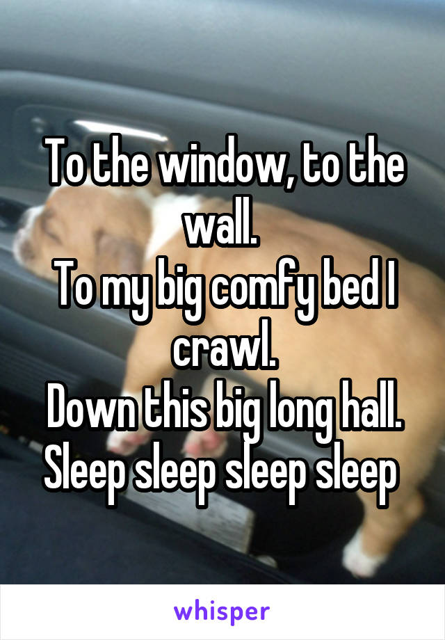 To the window, to the wall.  To my big comfy bed I crawl. Down this big long hall. Sleep sleep sleep sleep