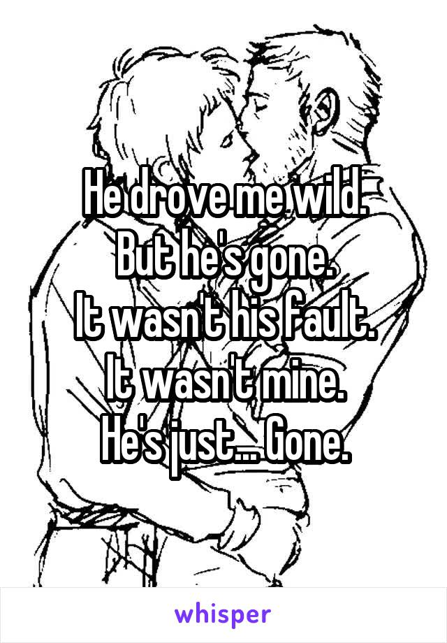He drove me wild. But he's gone. It wasn't his fault. It wasn't mine. He's just... Gone.