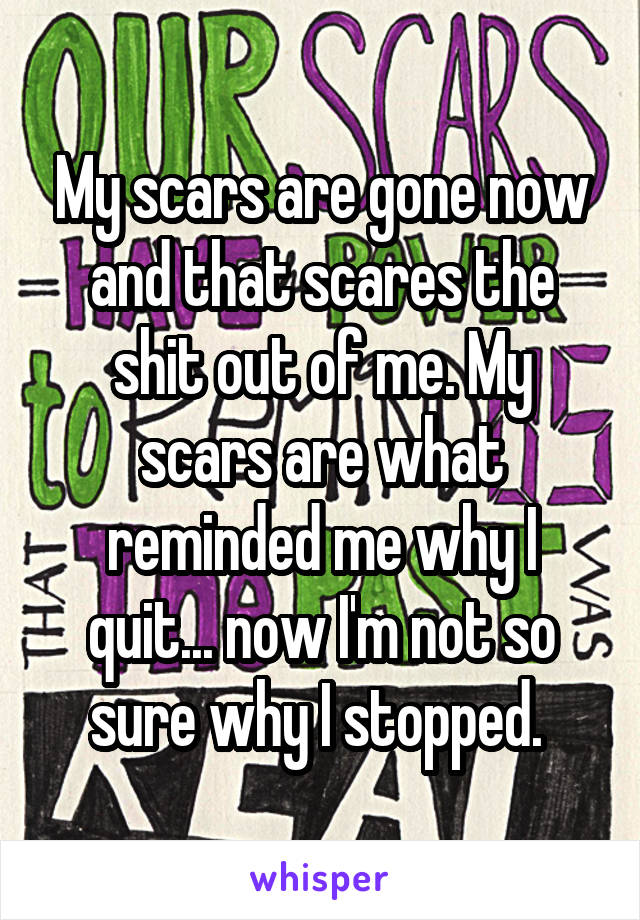 My scars are gone now and that scares the shit out of me. My scars are what reminded me why I quit... now I'm not so sure why I stopped.