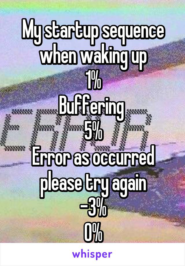 My startup sequence when waking up 1% Buffering  5% Error as occurred please try again -3% 0%