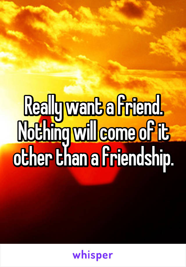 Really want a friend. Nothing will come of it other than a friendship.