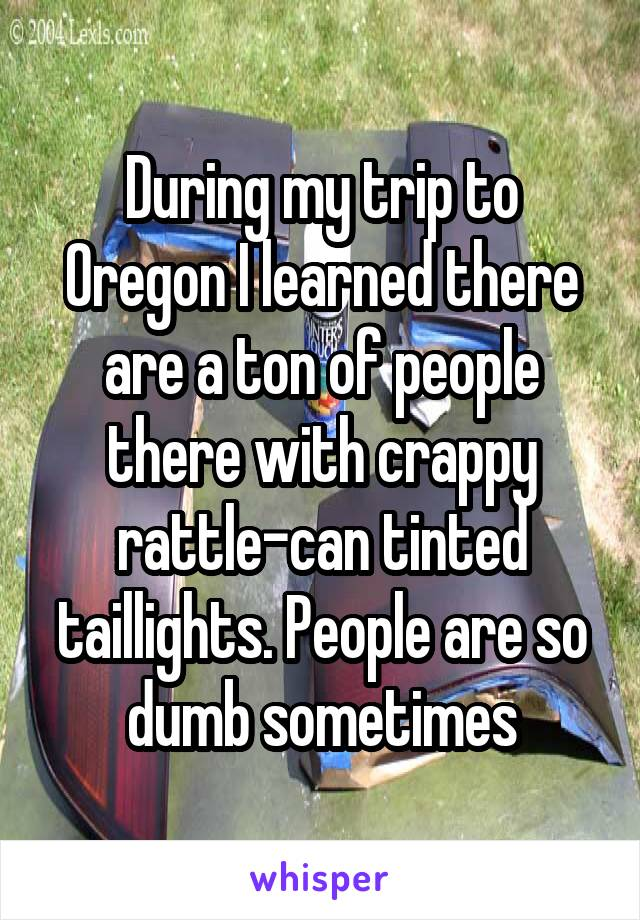 During my trip to Oregon I learned there are a ton of people there with crappy rattle-can tinted taillights. People are so dumb sometimes