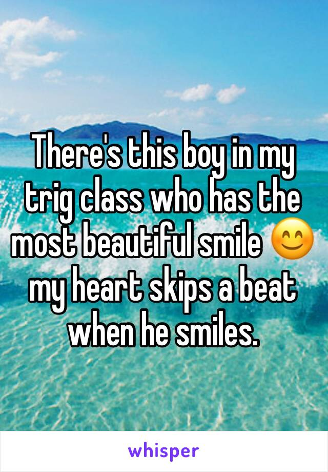 There's this boy in my trig class who has the most beautiful smile 😊 my heart skips a beat when he smiles.