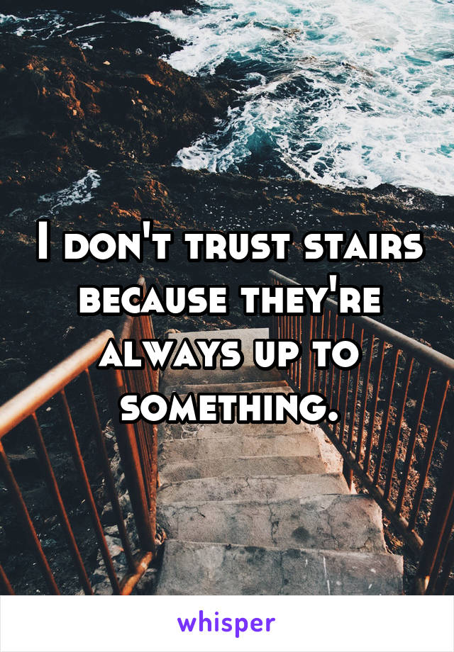 I don't trust stairs because they're always up to something.