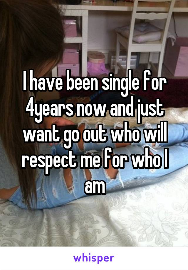 I have been single for 4years now and just want go out who will respect me for who I am