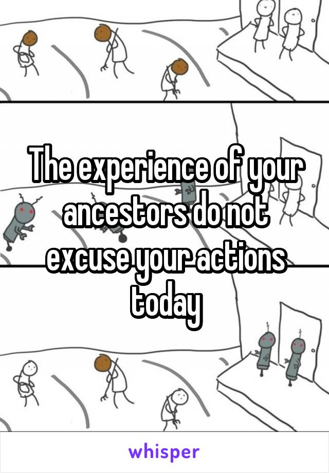 The experience of your ancestors do not excuse your actions today