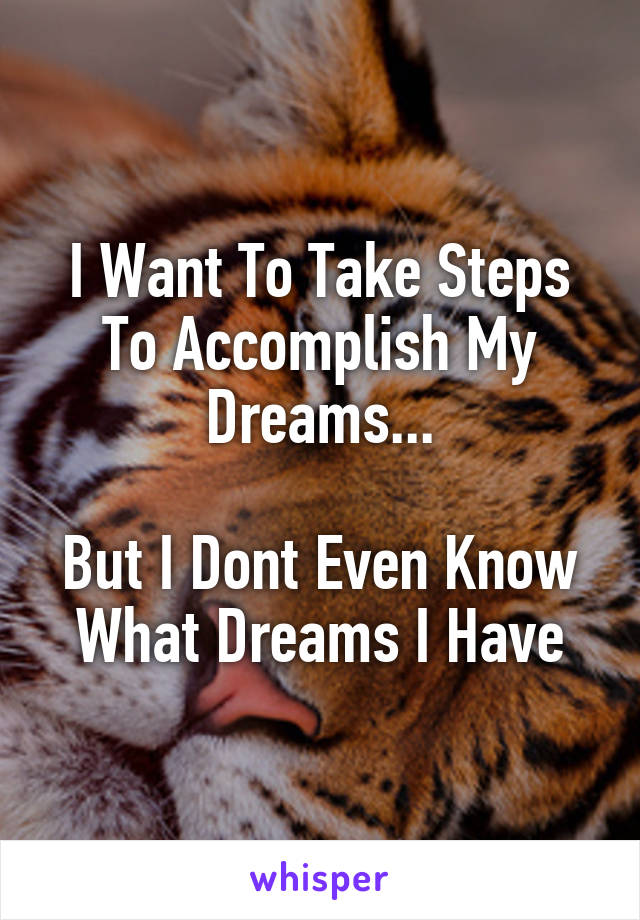 I Want To Take Steps To Accomplish My Dreams...  But I Dont Even Know What Dreams I Have